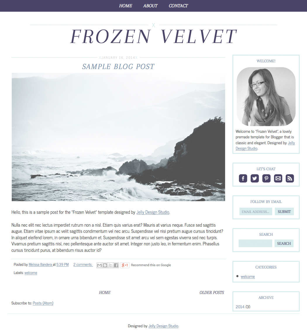 Frozen Velvet Blogger Template