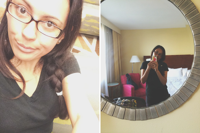 Left: Awkward snapchat photo // Right: Hotel mirror selfie