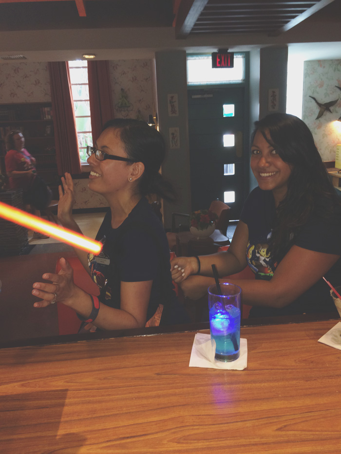 Another reason to love Tune-In, you get fun photos of your bestie cutting you with a lightsaber!